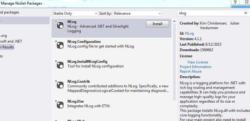 c# nlog example